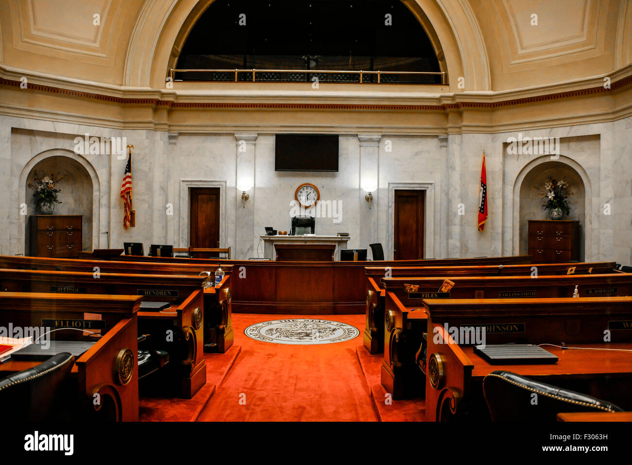 Arkansas State Capitol Building Stock Photos   Arkansas State     The Senate chamber inside the Arkansas State Capitol building in Little  Rock   Stock Image