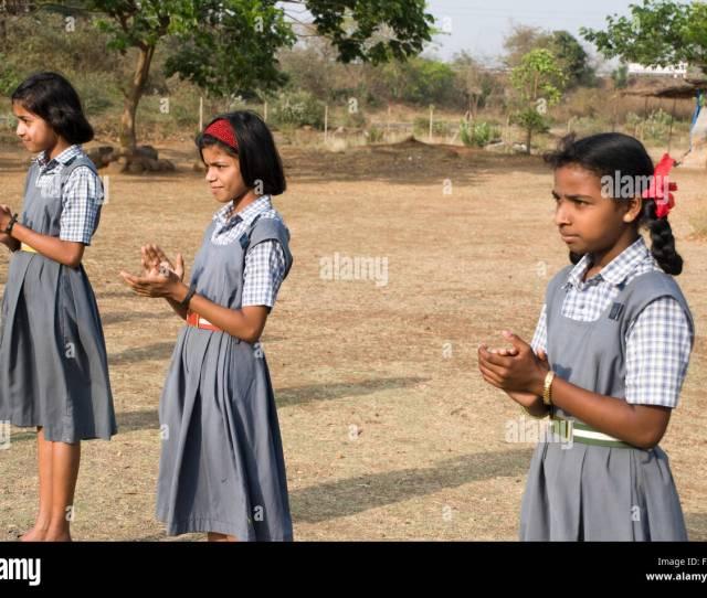 School Girls Clapping At Shivkar Village Panvel Taluka Maharashtra India Stock Image