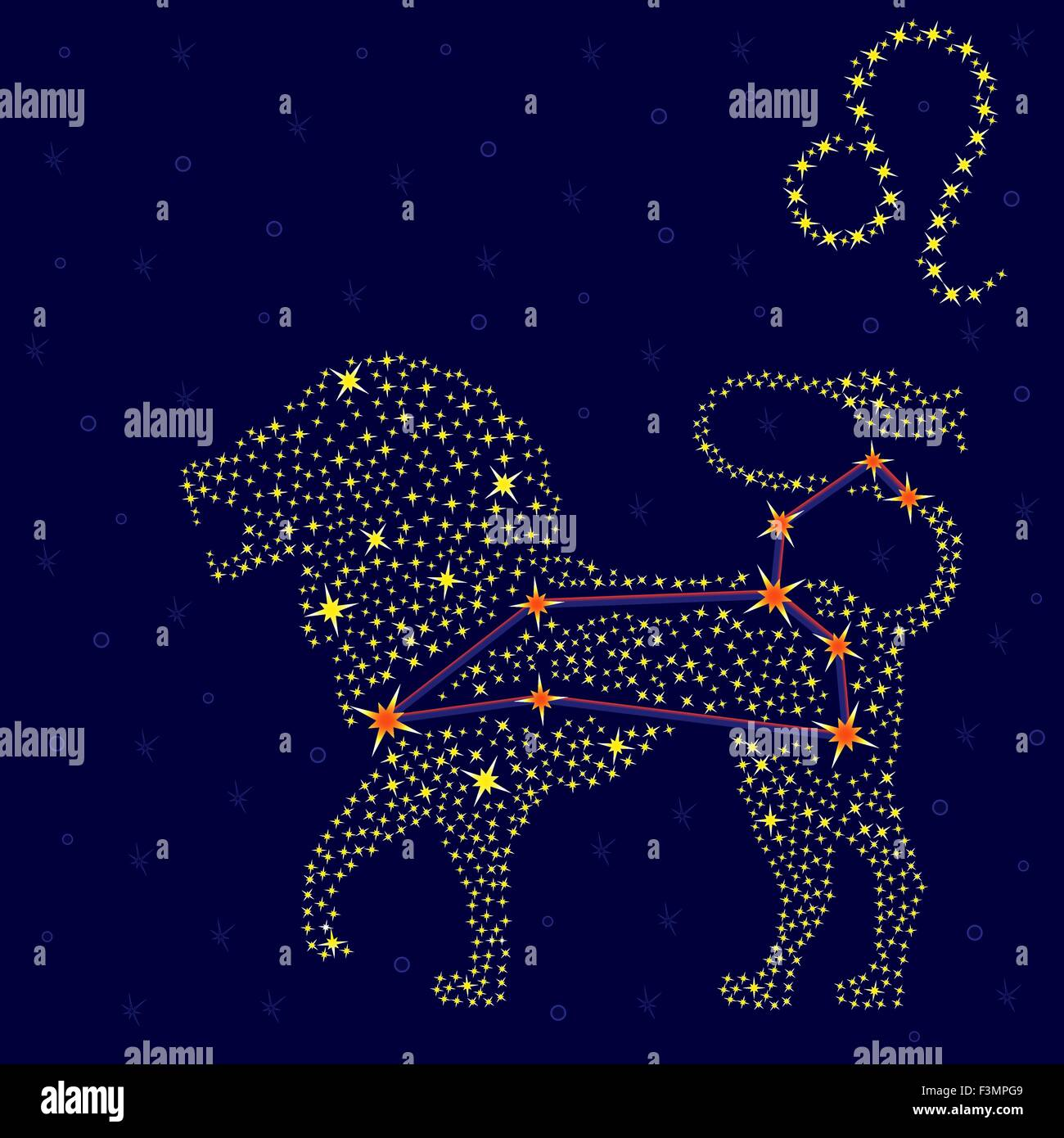Zodiac Sign Leo On A Background Of The Starry Sky With The Scheme Of Stock Vector Art