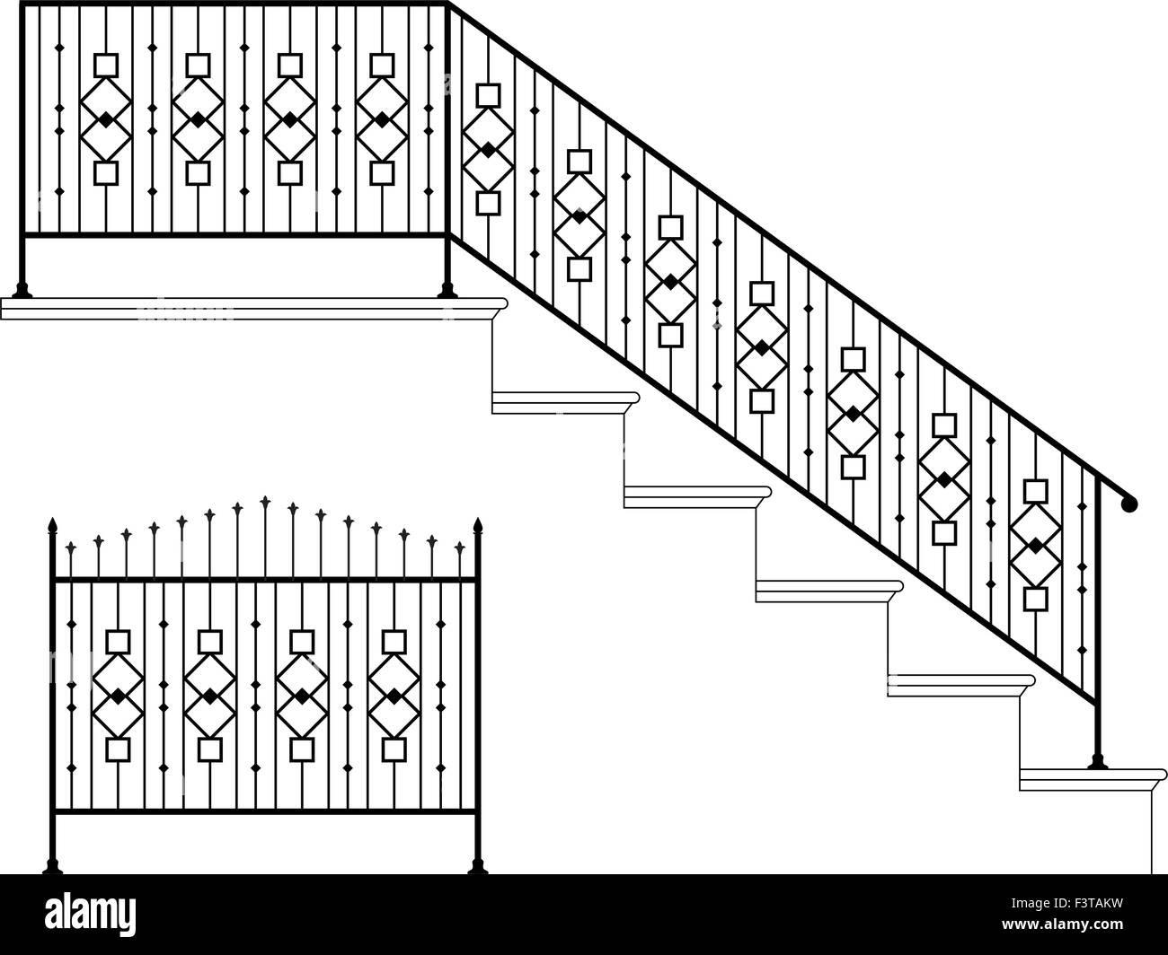 Wrought Iron Stair Railing Design Vector Art Stock Vector Image   Wrought Iron Handrail Designs   Staircase   Iron Pipe   Cast Iron Railing   Garden   Geometric Railing