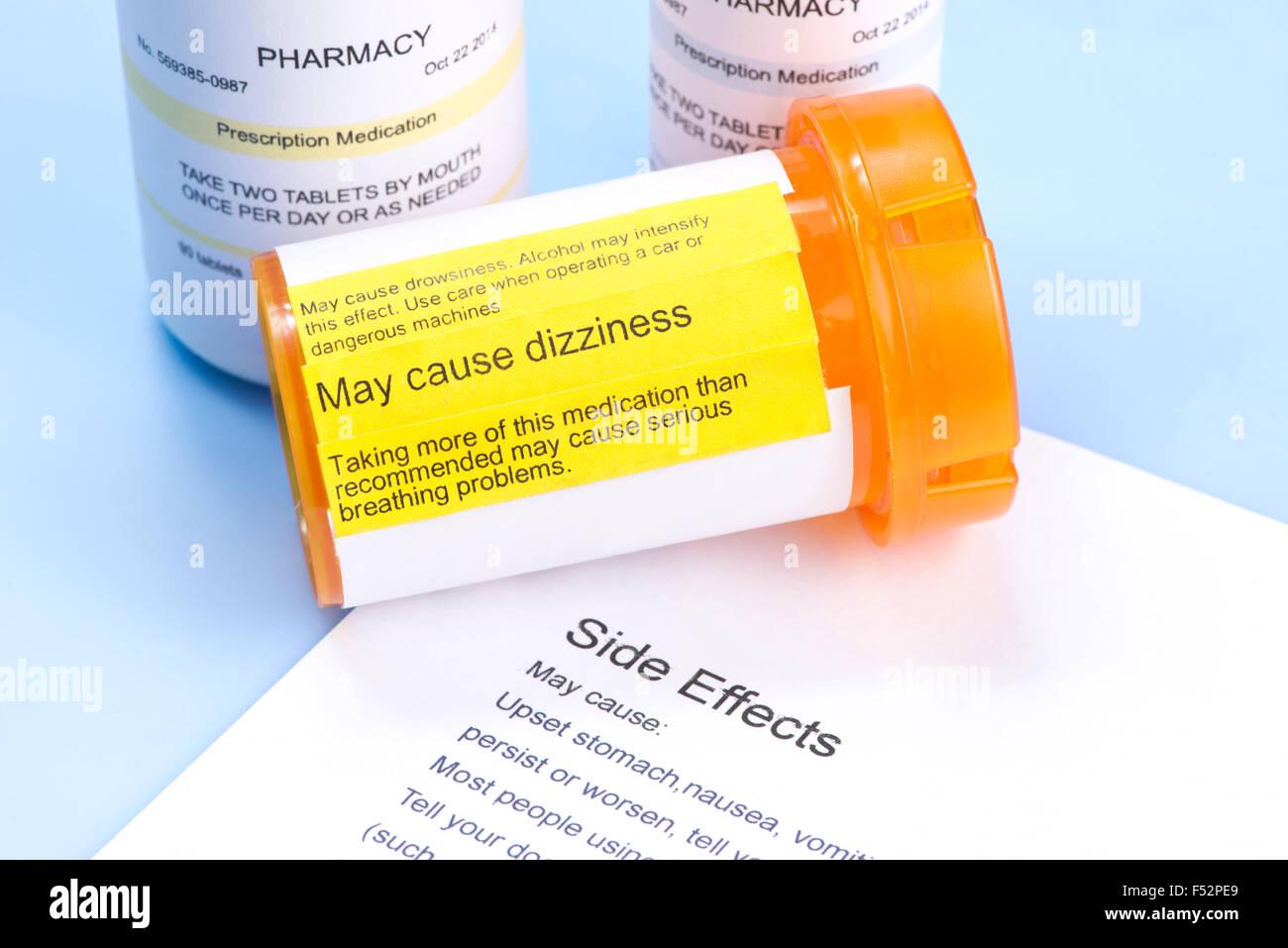 Prescription Bottle With Warning Label And Drug Side