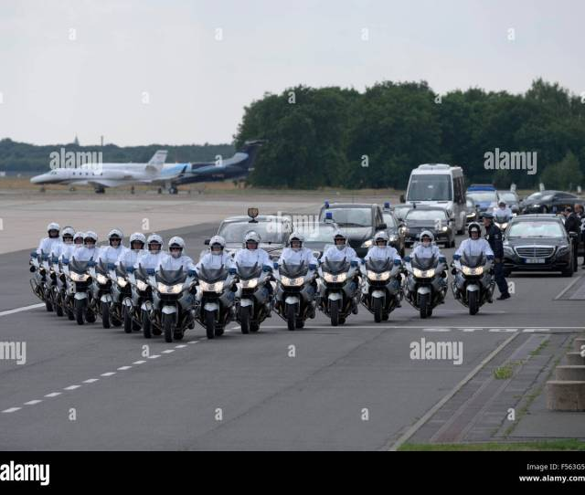Berlin Germany Berlin Tegel Airport North Military Unit The Escort Of The Berlin Police In The Lead With  Motorcycles Of The Bmw Brand