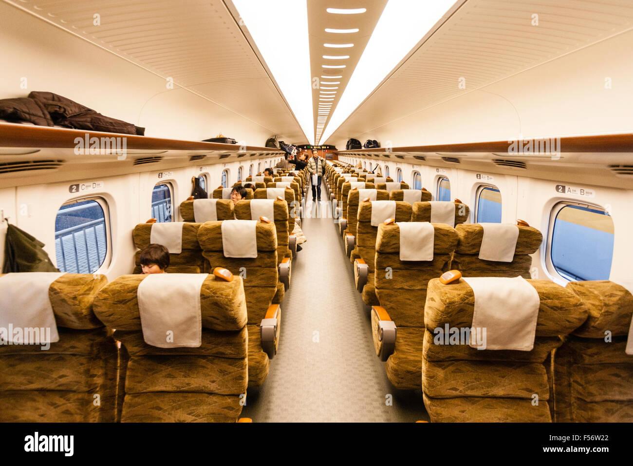 Japanese Shinkansen Bullet Train Interior Showing 2x2