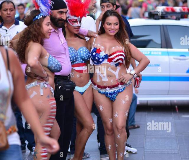 The Topless Girls And Characters Of Times Square Working For Tips As The Times Square Commission