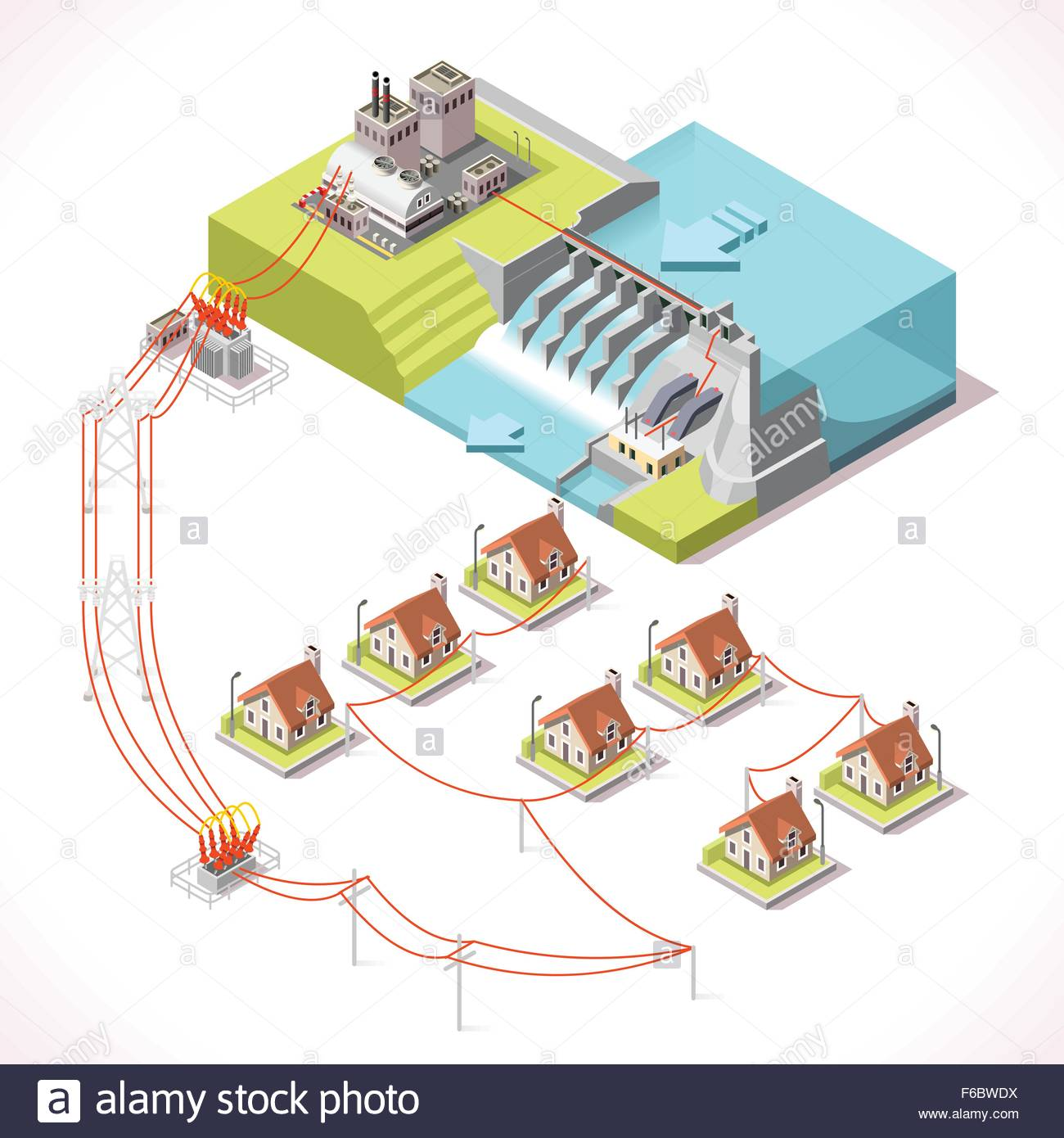 Hydroelectric Power Plant Factory Electric Water Power Station Dam Stock Vector Art