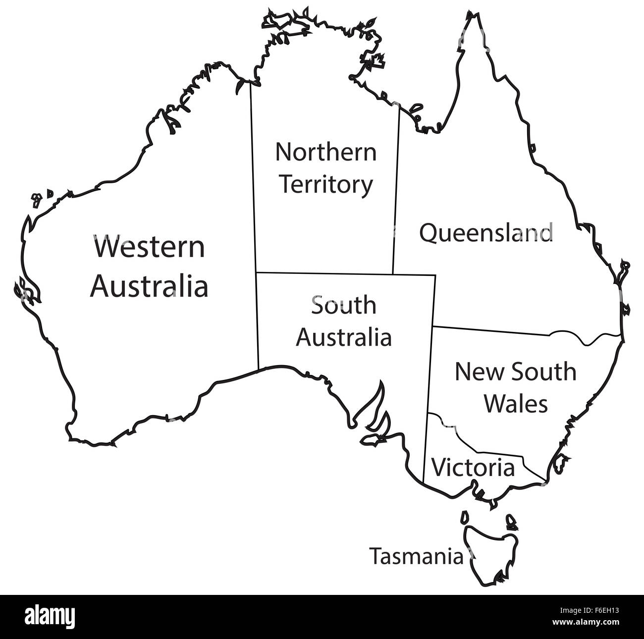 An Australian Map Outlining The Territories Isolated On A
