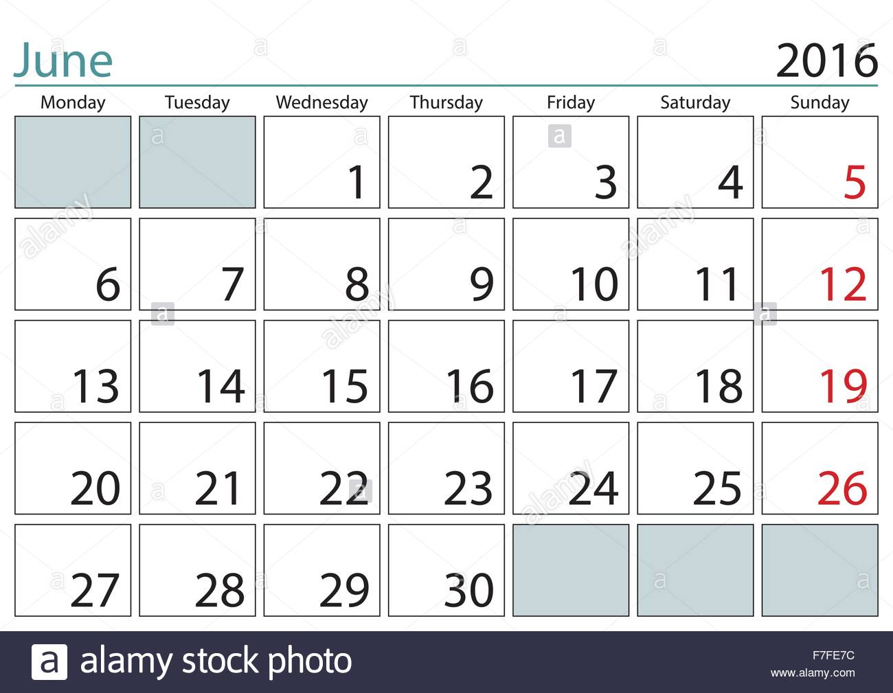 June 2016 Sheet In A Wall Calendar In English Week Starts On Monday Stock Vector Image Art Alamy