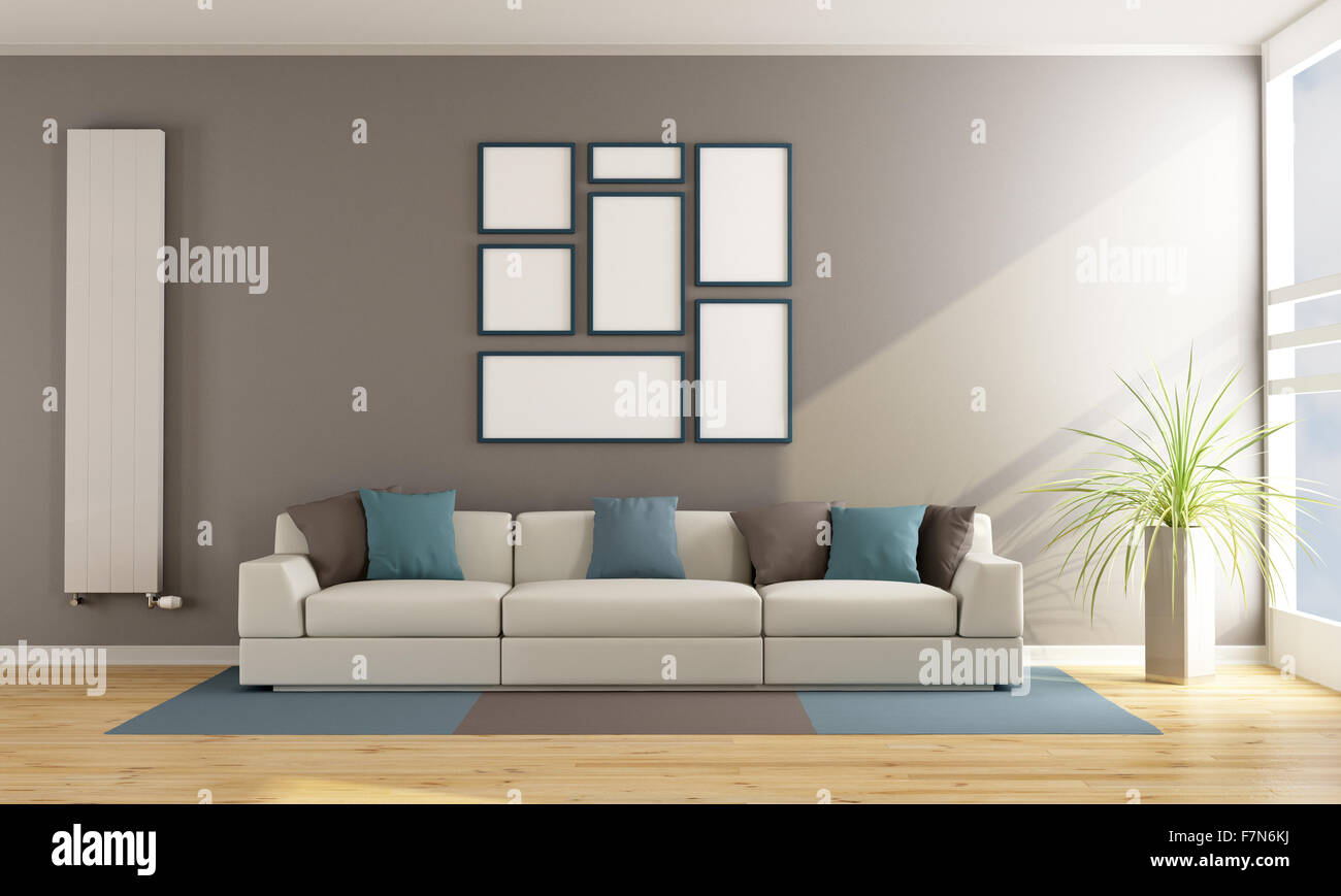 Contemporary Living Room With Sofa Vertical Radiator And Blank