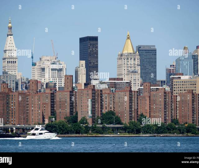 Day Time View Of Manhattan From Williamsburg Brooklyn With View Of East River New York