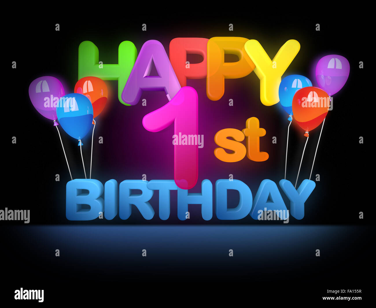 Happy 1st Birthday Title In Big Letters Stock Photo Alamy