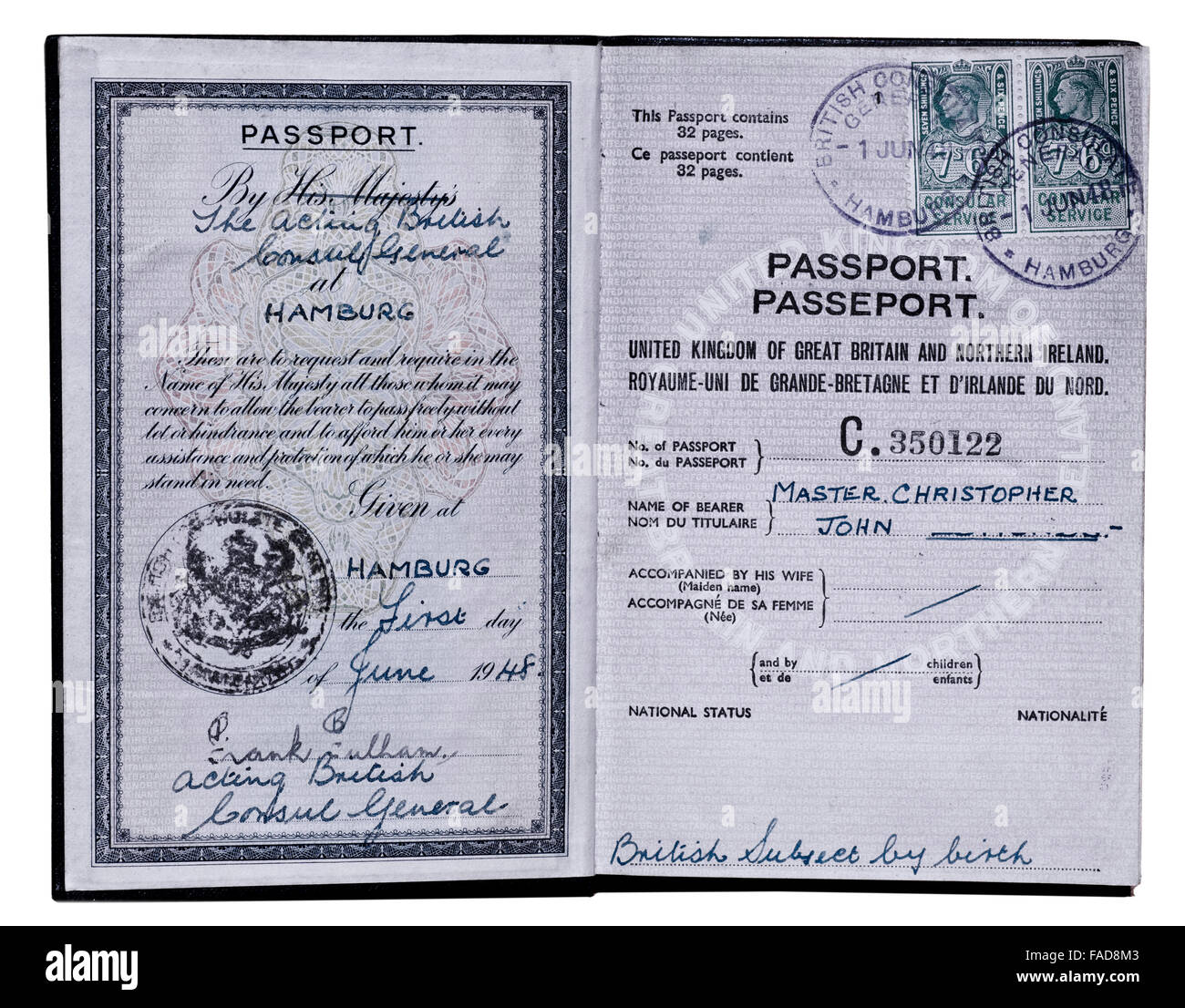 Inside Cover Old Style UK Passport Issued At Hamburg