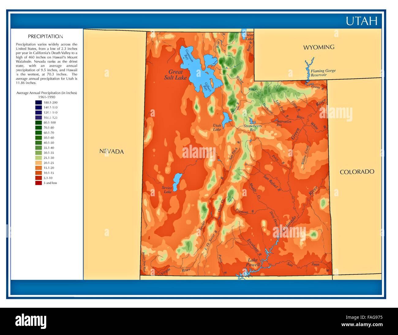Utah United States Water Precipitation Statistics Map By