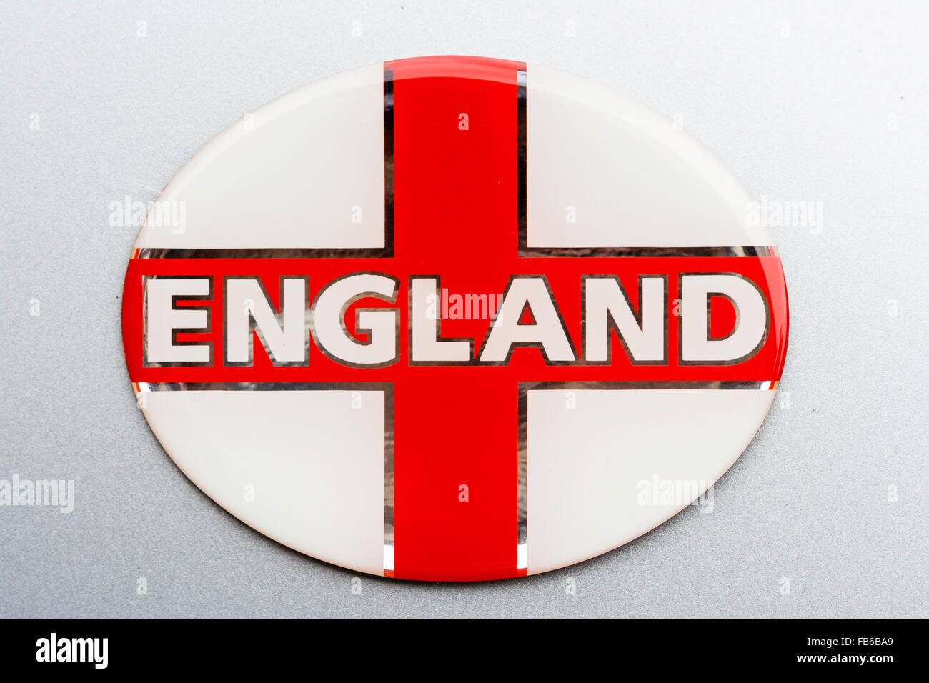 White Badge With English Flag St George Red Cross And