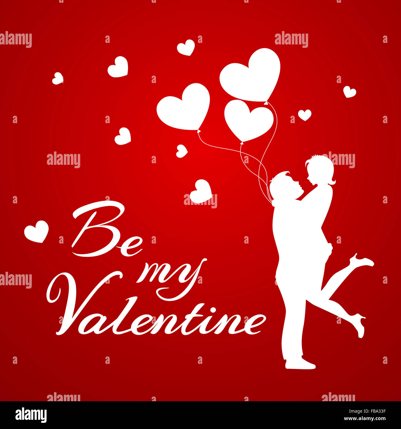 Romantic Background With Couple And Balloons For Valentine