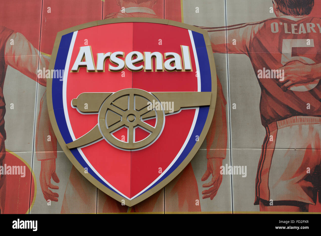 https www alamy com stock photo arsenal logo on big poster with former star players on the outside 94104271 html