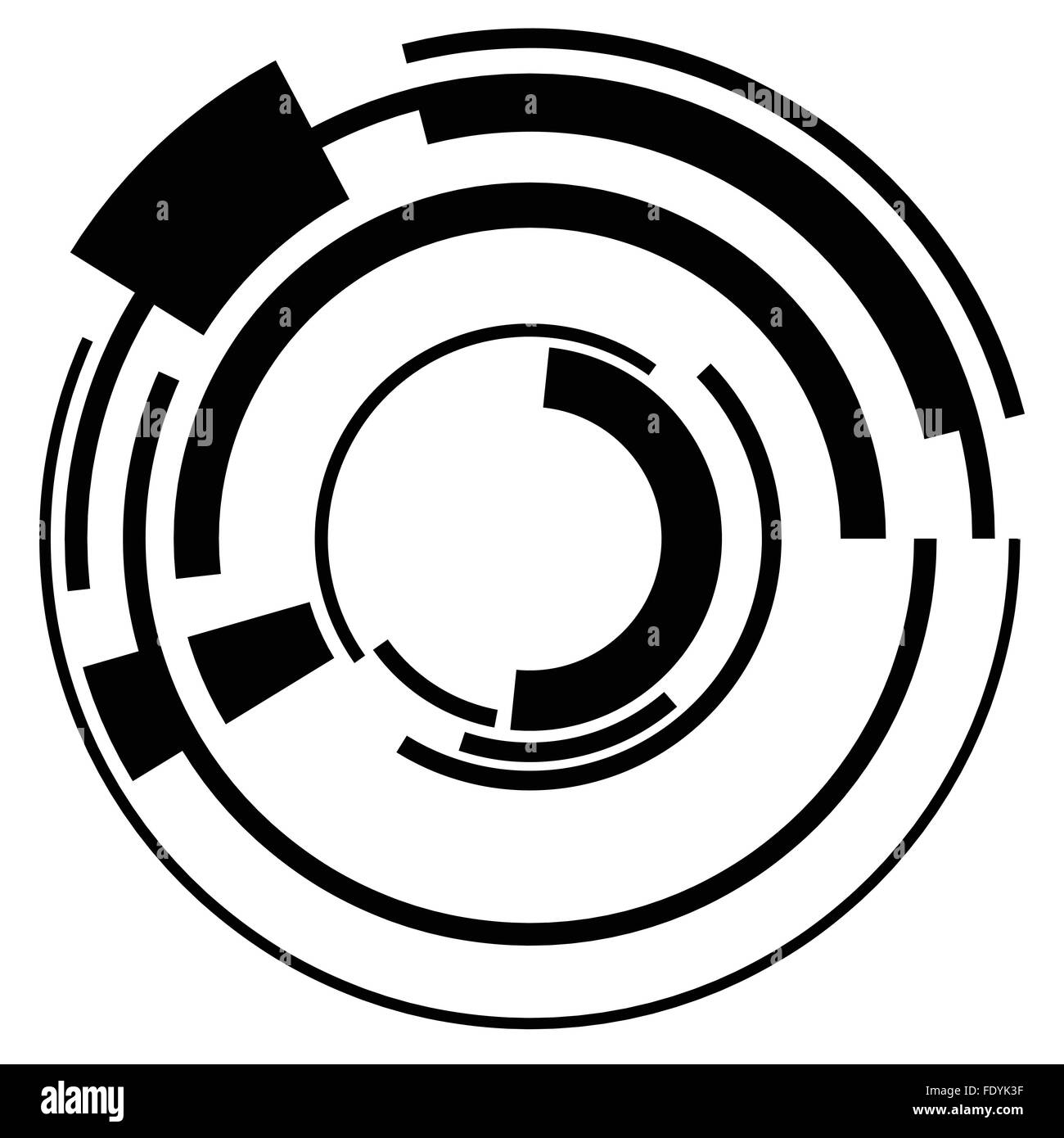 Abstract Hi Tech Segmented Geometric Circle Shape Isolated