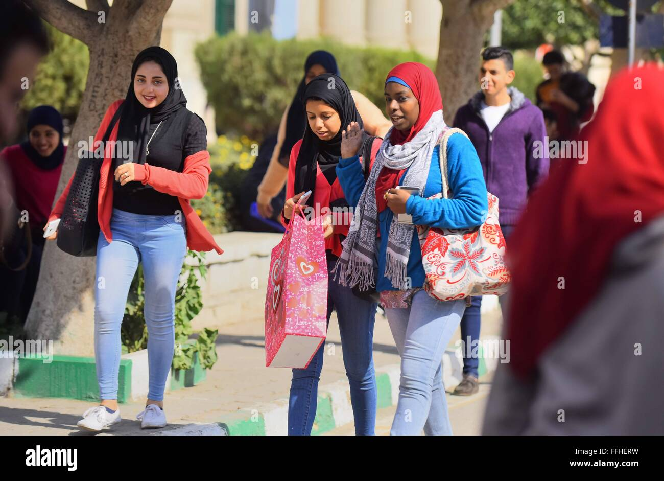 Cairo Egypt 14th Feb Egyptian Students Celebrate