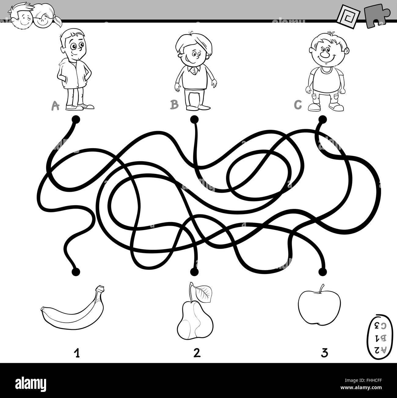 Black And White Cartoon Illustration Of Education Paths Or