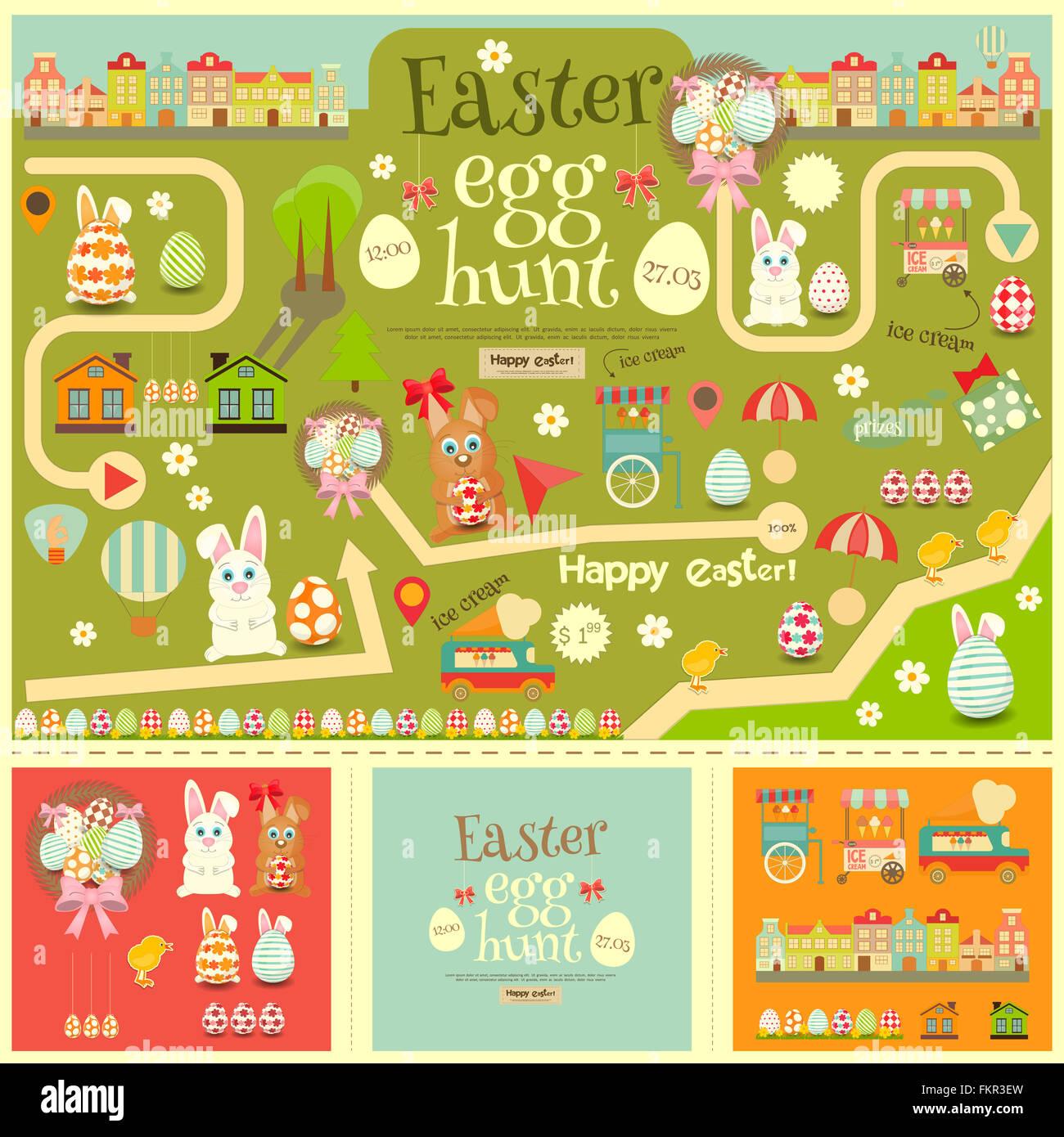 Easter Invitation Card And Easter Elements Easter Egg