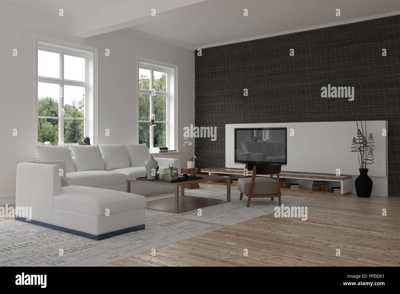 Spacious Modern Living Room Interior With A Black Accent