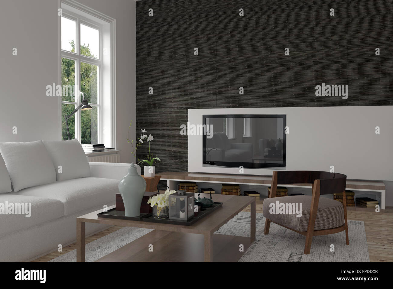 Modern Living Room Interior With A Television Set Wall