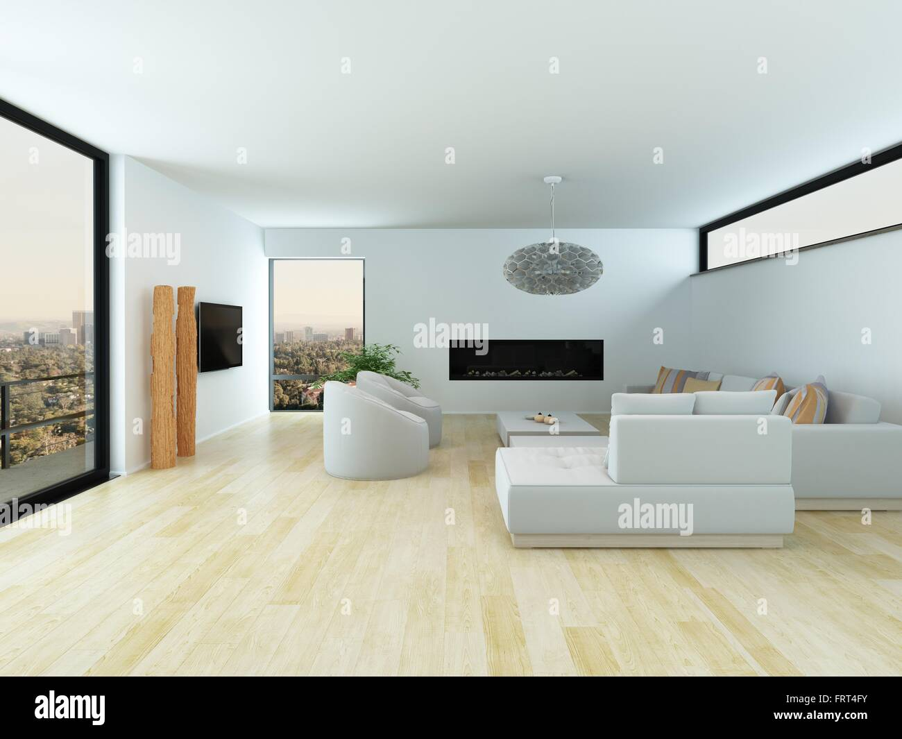 Modern White Living Room Interior With A Light Parquet