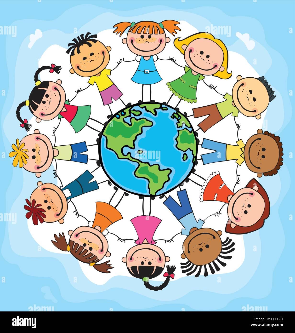 Globe Kids Children Earth Day Vector Stock Vector Image