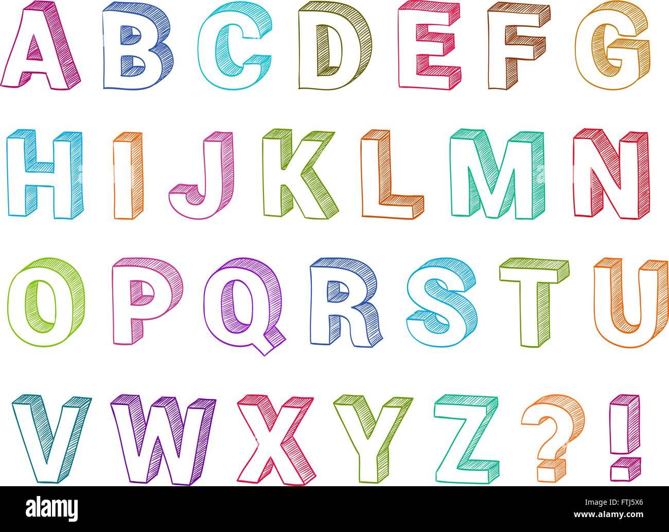 Alphabet Set 3d Form Hand Drawn Vector Sketch Font For