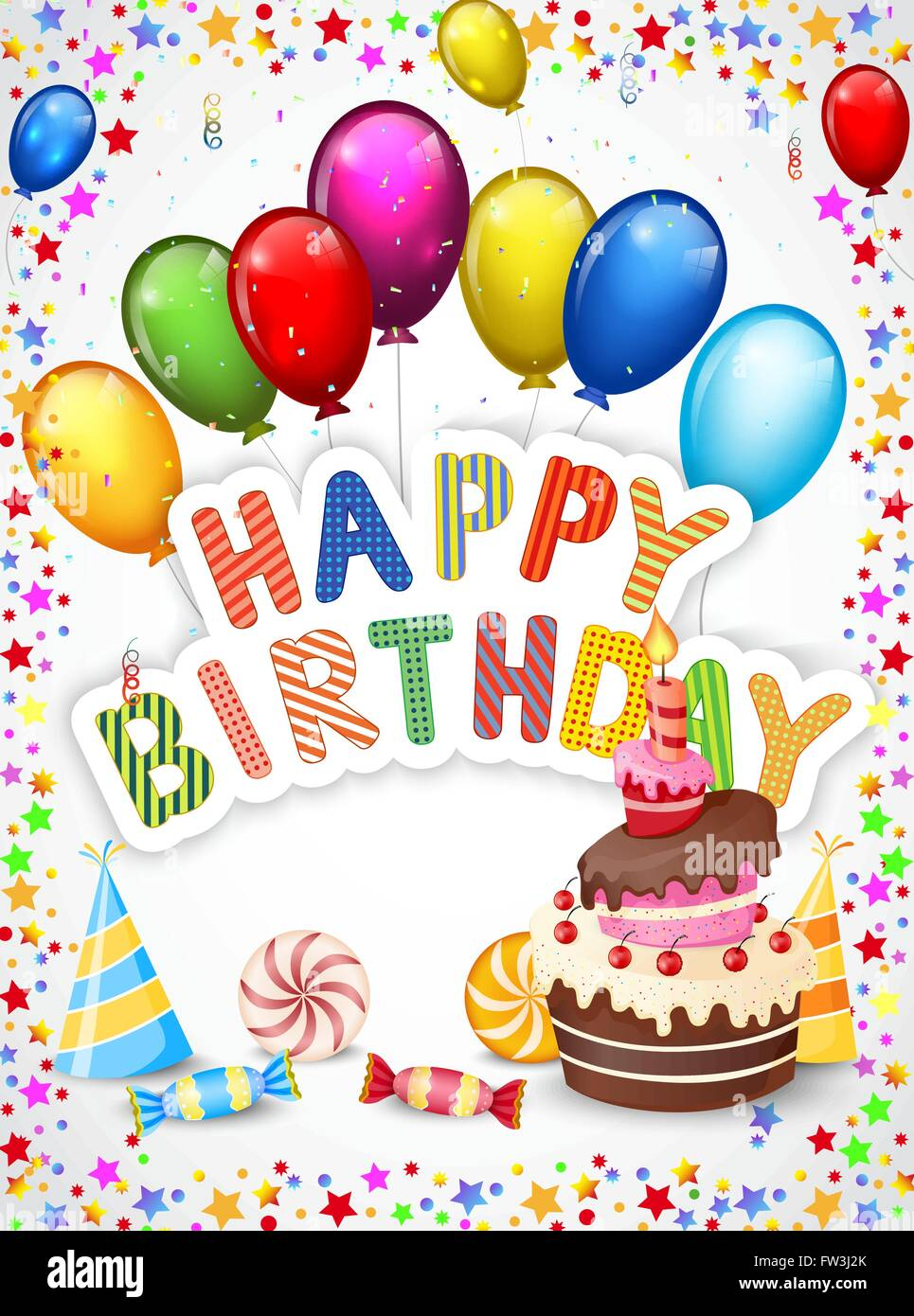 Birthday Cartoon With Colorful Balloon And Birthday Cake Stock Vector Image Art Alamy
