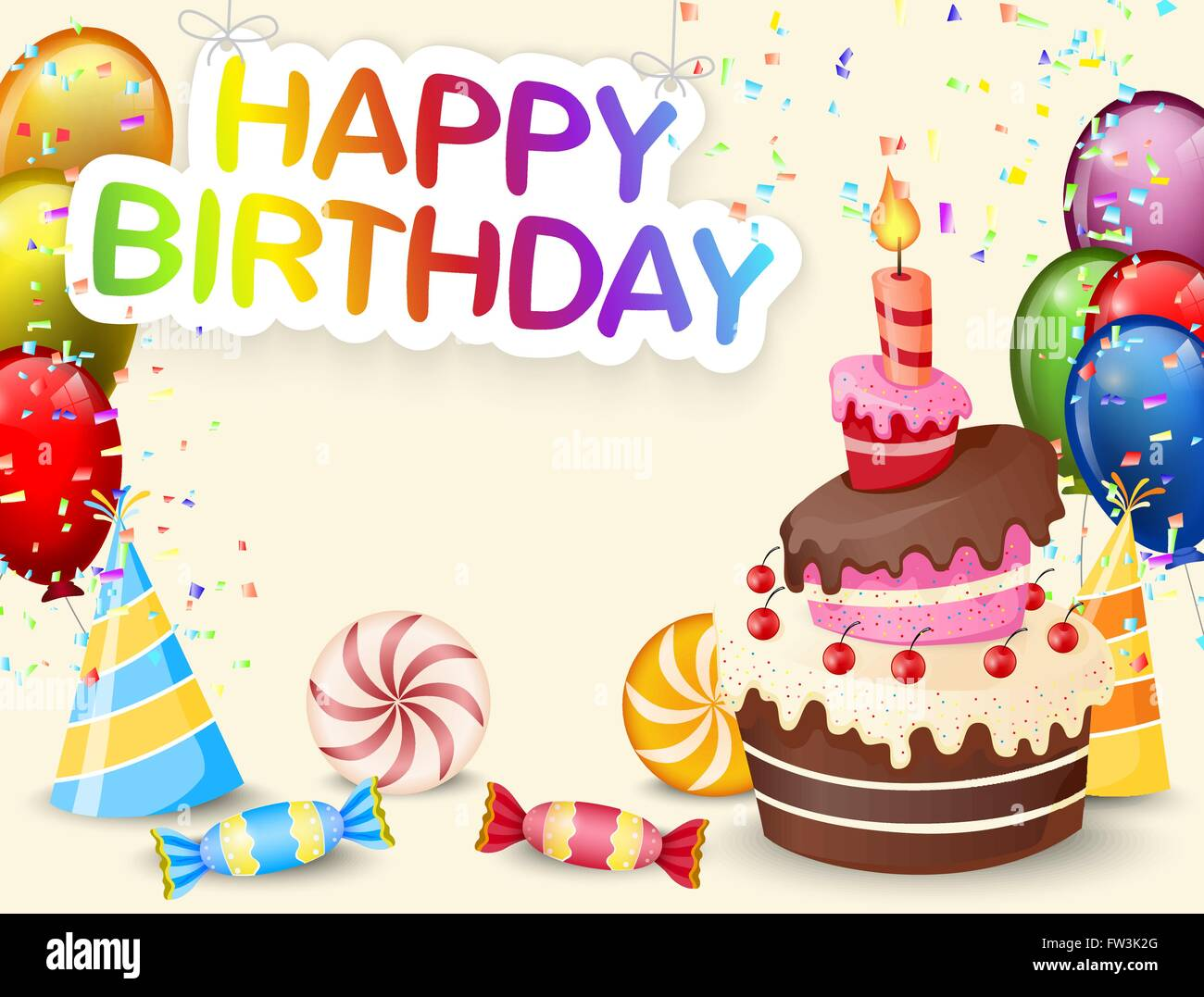Birthday Background With Birthday Cake And Colorful Balloon Stock Vector Image Art Alamy