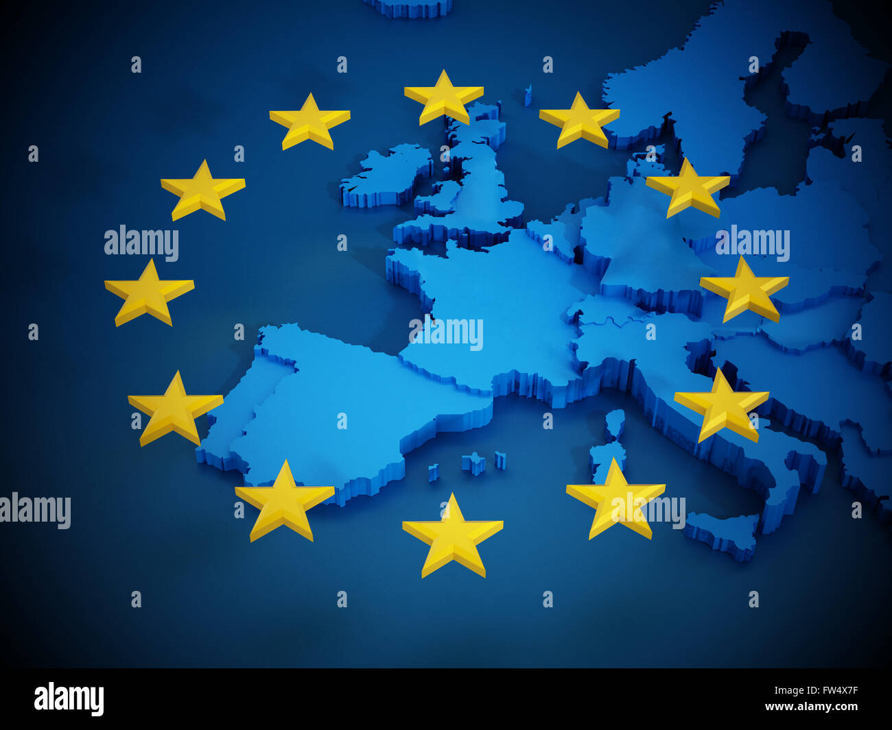 European Union Map Stock Photos   European Union Map Stock Images     European Union map and aligned stars in circle shape forming a flag     Stock Image