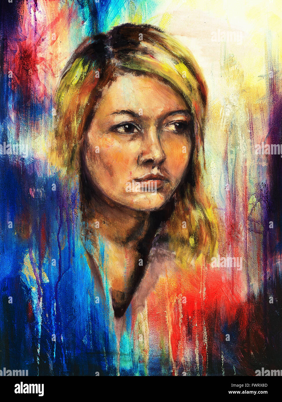Art Colorful Painting Beautiful Girl Face And Abstract Color Stock Photo Royalty Free Image