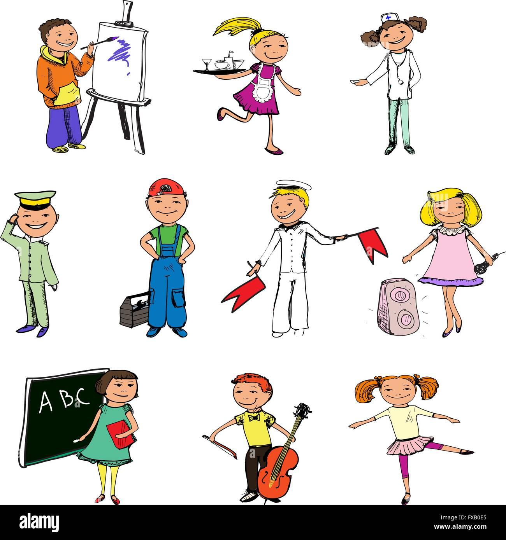 Children Professions Characters Stock Vector Art Amp Illustration Vector Image