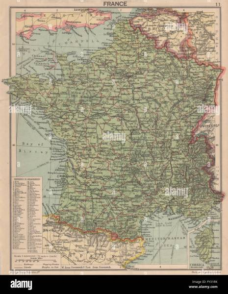 SECOND WORLD WAR  France in 1940  Pre invasion  1940 vintage map     Pre invasion  1940 vintage map