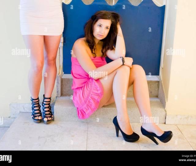 Two Young Teen Women Are Bored Friendship Friend Friends Attractive Beautiful Stiletto Stilettos Sexy Legs High Heels Pumps