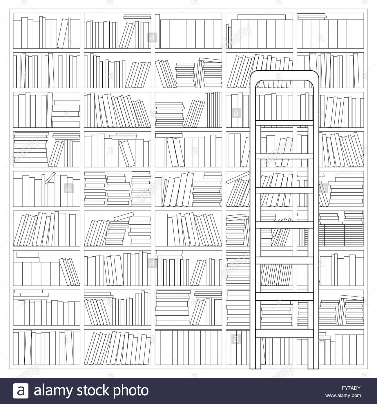 Bookshelf With Ladder Outline Drawing Of A Bookshelf With