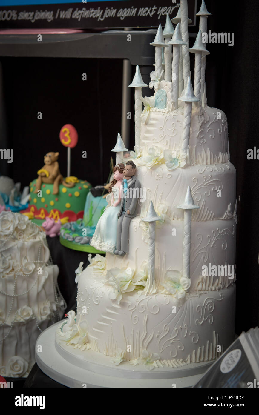 Decorative snow castle wedding cake at Cake International     The     Decorative snow castle wedding cake at Cake International     The Sugarcraft   Cake Decorating and Baking Show in London