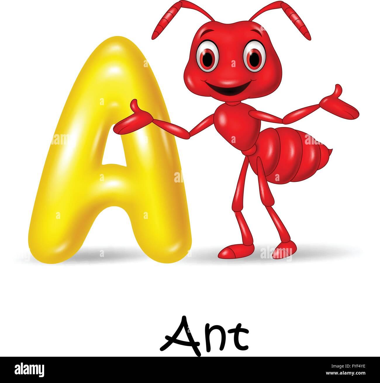 Illustration A Of Letter For Ant Stock Vector Art