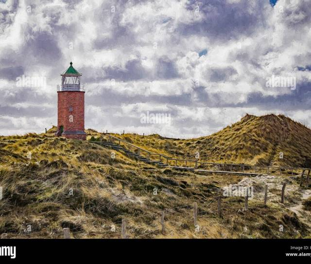 Digital Painting Lighthouse At Kampen Sylt Germany Stock Image