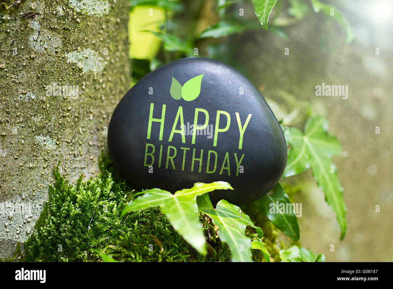 The Word Happy Birthday On A Stone In Nature Stock Photo Alamy