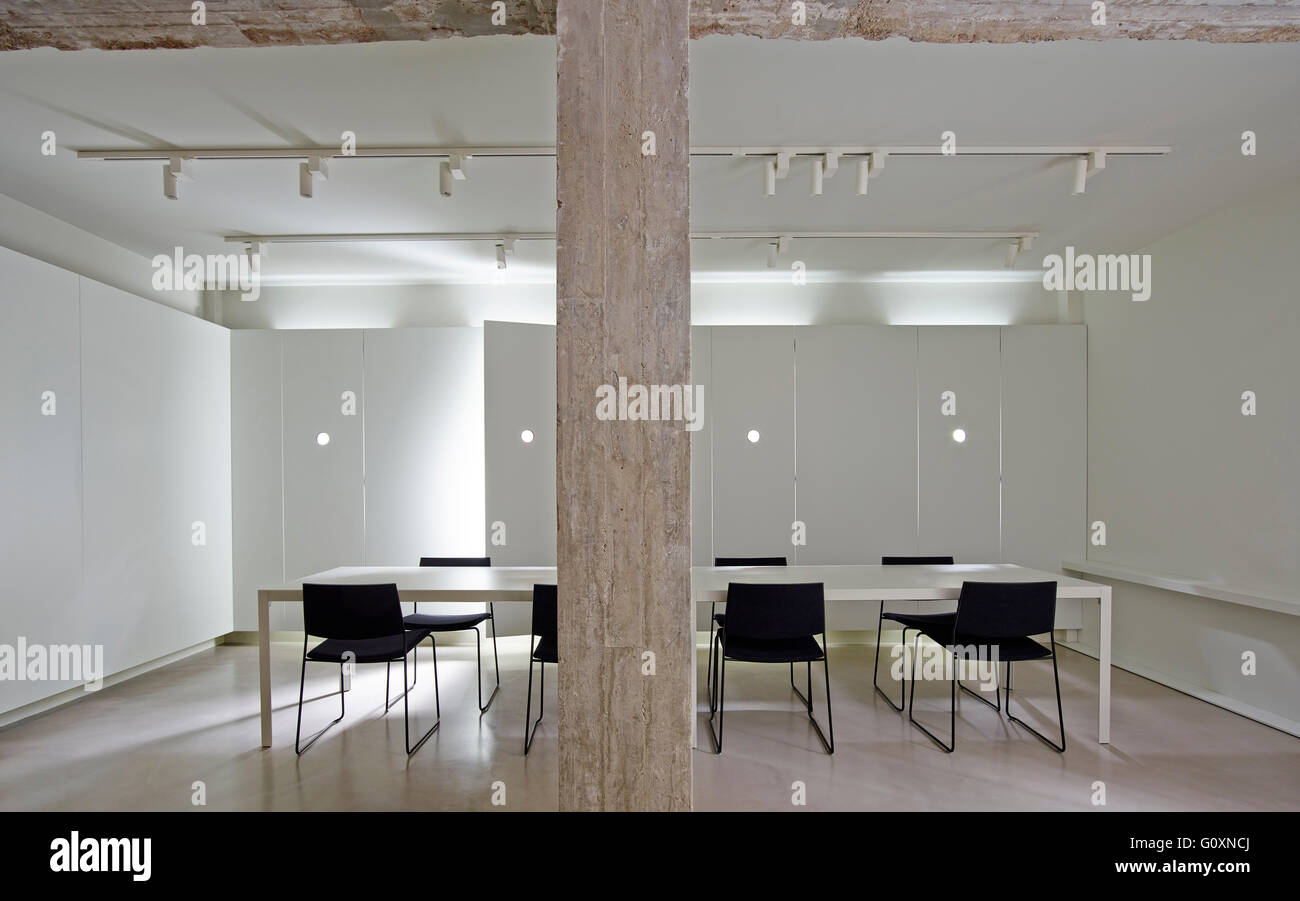 https www alamy com stock photo long table with chairs in modern white room with track lighting and 103849778 html