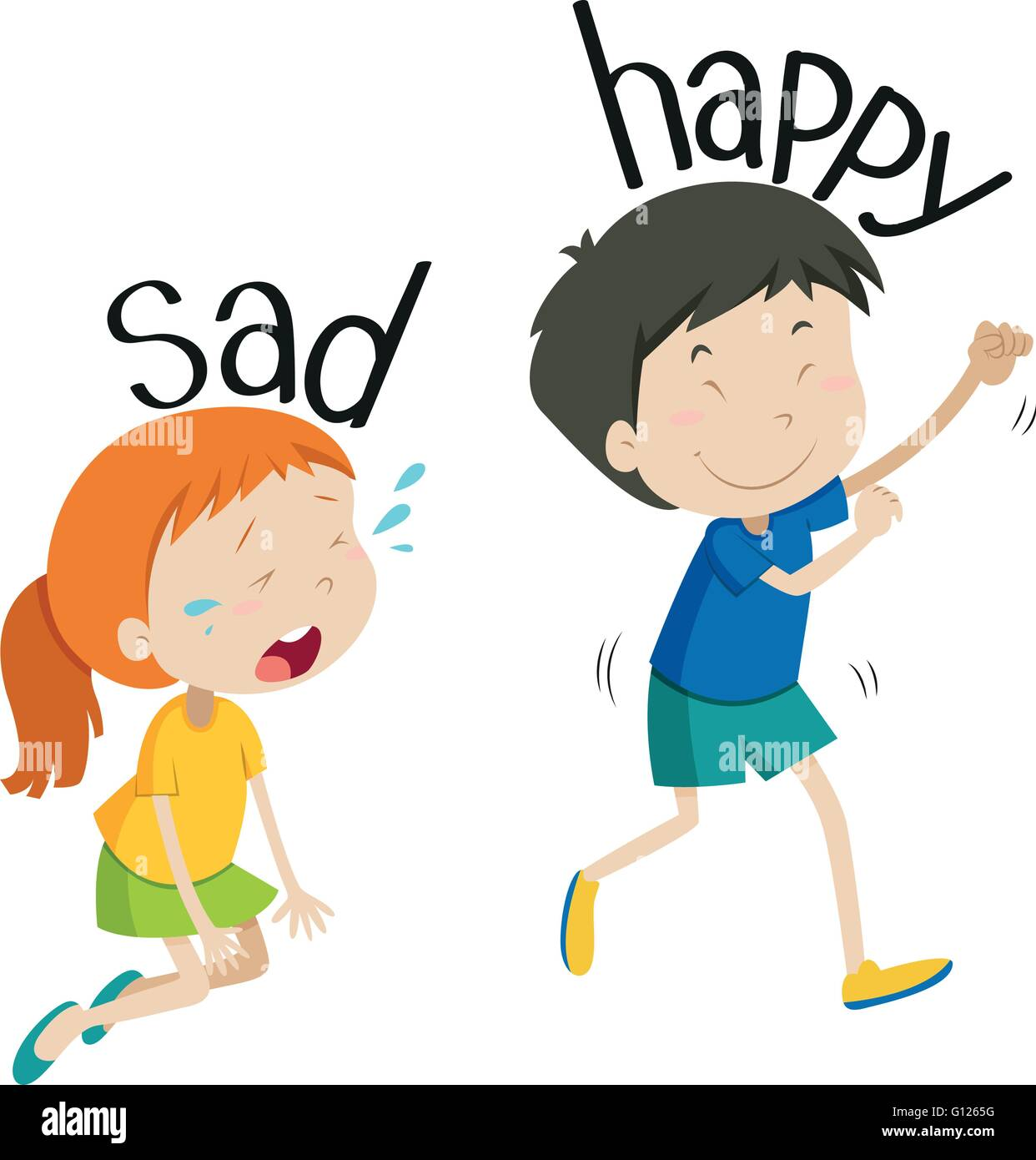 Opposite Adjective Sad And Happy Illustration Stock Vector