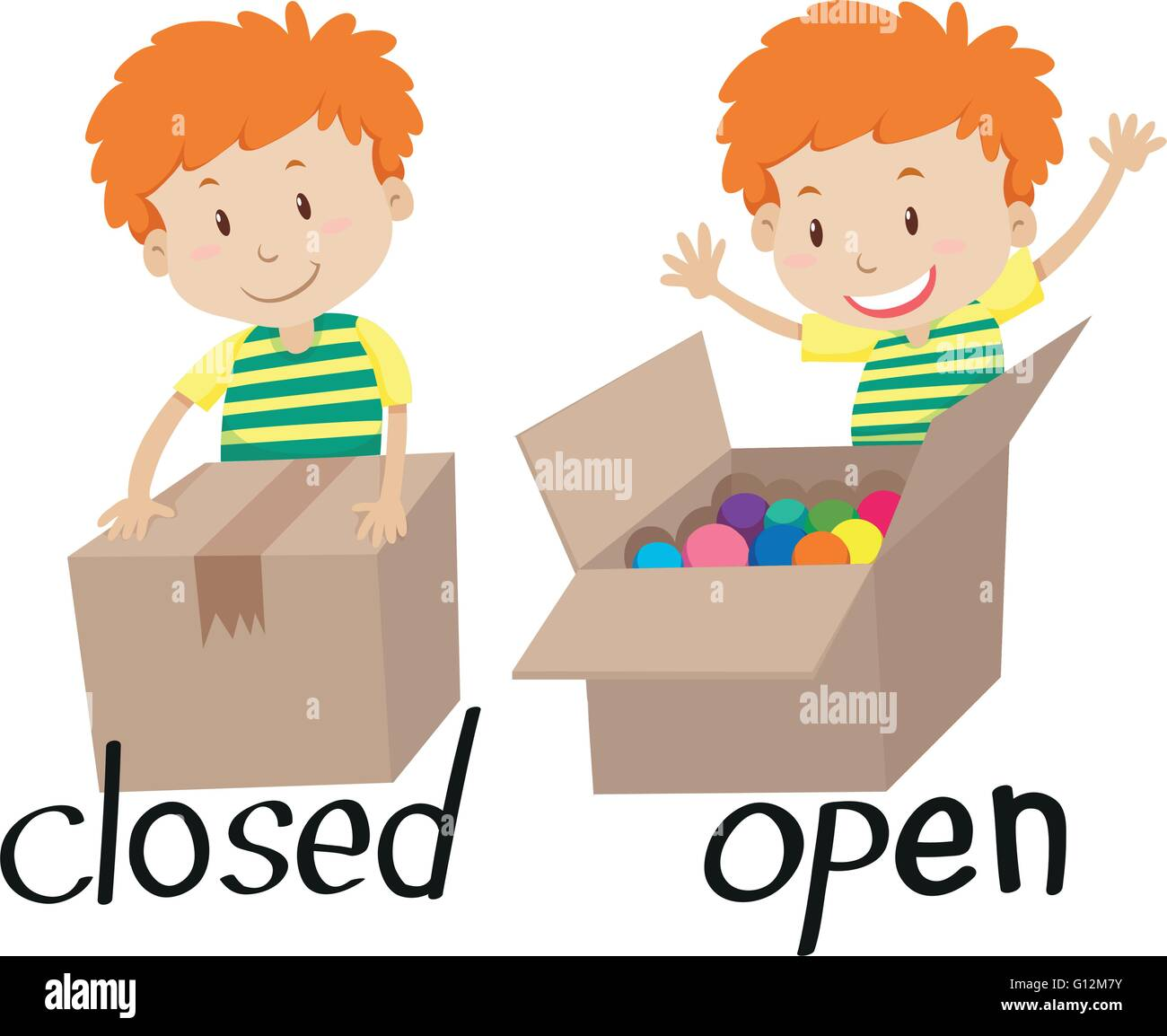 Opposite Adjective Closed And Opened Illustration Stock
