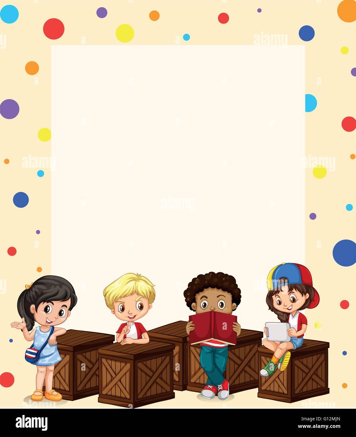 Border Design With Children Reading Illustration Stock