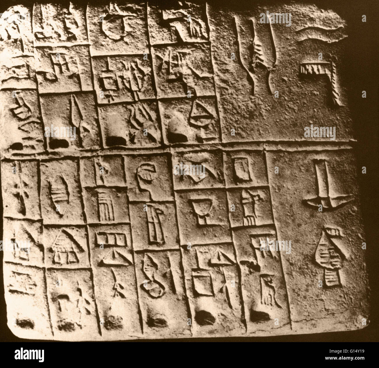 Sumerian Writing Cuneiform On A Clay Tablet From Mesopotamia