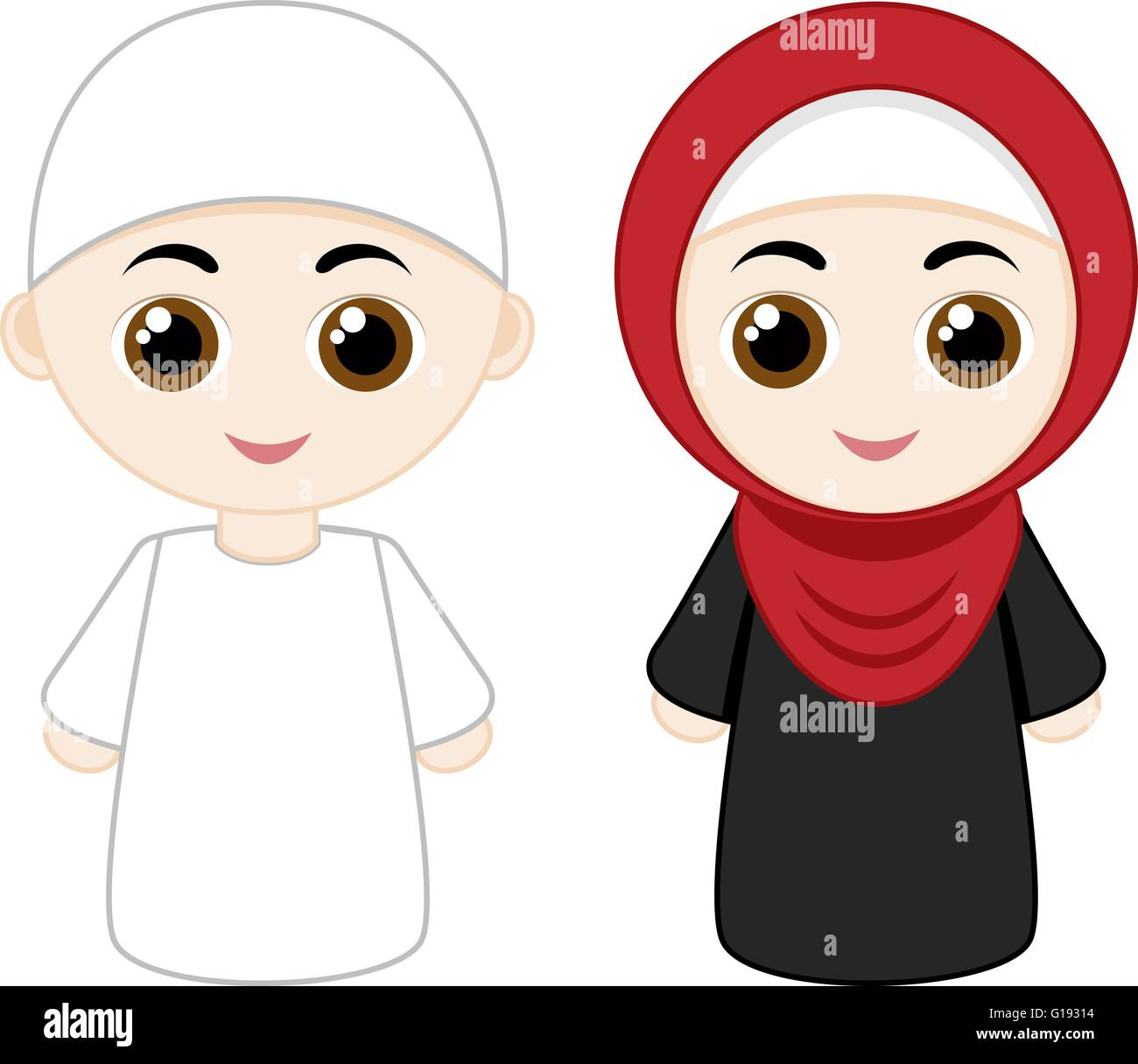 Cartoon Muslim Couple Stock Vector Art Ilration Image Jpg 618x578 Kartun Couples Muslimah Family Anime Pictures