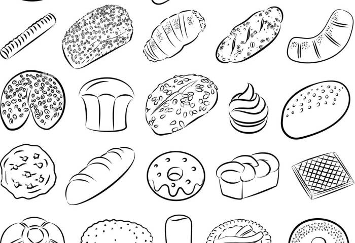 Vector Collection Of Bakery And Pastry Food In Line Art Mode Stock