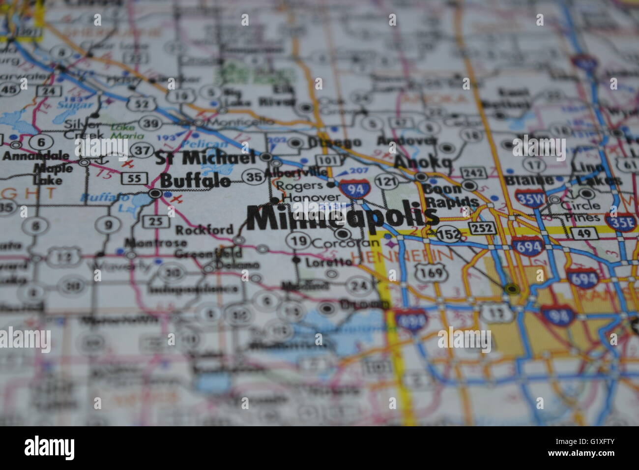 Map Of Minneapolis Stock Photos   Map Of Minneapolis Stock Images     Minneapolis Map   Stock Image