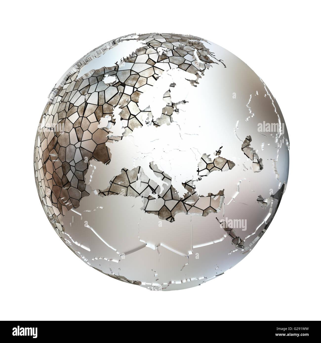 Europe On Metallic Model Of Planet Earth Shiny Steel