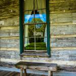 A Window With Drawn Back Curtains On A Charming Rustic Log Cabin With Stock Photo Alamy